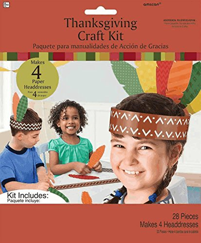 Thanksgiving Craft Kit Headbands with Feathers 28 Piece for 4 Headbands