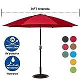 Cheap Sundale Outdoor 9 Feet Aluminum Market Umbrella Table Umbrella with Crank and Push Button Tilt for Patio, Garden, Deck, Backyard, Pool, 8 Fiberglass Ribs, 100% Polyester Canopy (Red)