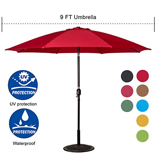 Cheap Sundale Outdoor 9 Feet Aluminum Market Umbrella Table Umbrella with Crank and Push Button Tilt for Patio, Garden, Deck, Backyard, Pool, 8 Fiberglass Ribs, 100% Polyester Canopy (Red)