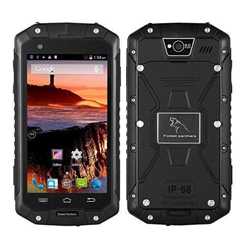 ROGUCI Wald Leopard No 1 Smartphone Wasserdicht(4,5 Zoll Touch-Display, 4 GB Speicher, Android 4.4)Anti-Schock Anti-Staub Doppel-SIM (Schwarz)