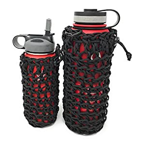 2 (Large and Small) Paracord Bottle Holder / Utility Pouch Set - Ideal for Camping, Hiking, Hydro Flask Holder or Swell Bottle Pocket (Black)