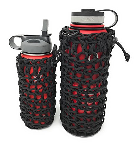 2 (Large and Small) Paracord Bottle Holder / Utility Pouch Set - Ideal for Camping, Hiking, Hydro Flask Holder or Swell Bottle Pocket (Bike Flask Holder)