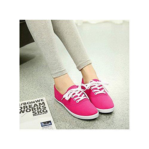 Damen Sneakers Sandalette aus Canvas Sportschuhe Turnschuhe Laufschuhe Basketballschuh Freizeit Rosarot