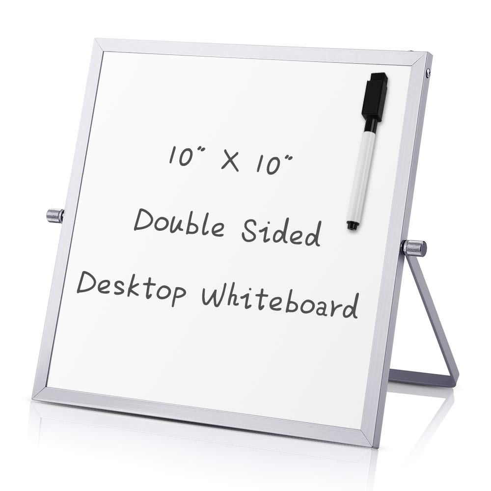 """Small Dry Erase White board – Desktop Portable mini WhiteBoard easel 10""""x 10"""", 360 Degree Reversible To Do List Notepad For Office, Home, School."""