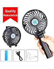 Rarazu Mini Handheld Fan Portable Electric Outdoor Fan With 3 Speed Operation, Rechargeable Desk Fan, Small Foldable USB Cooling Fan For Home Office Travel Blue