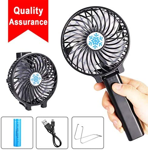 Rarazu Ventilateur à Main Portable Mini Ventilateur de Table USB Ventilateur de Bureau avec Rechargeable Batterie, 3 Vitesse Réglable, Poignée Pliable