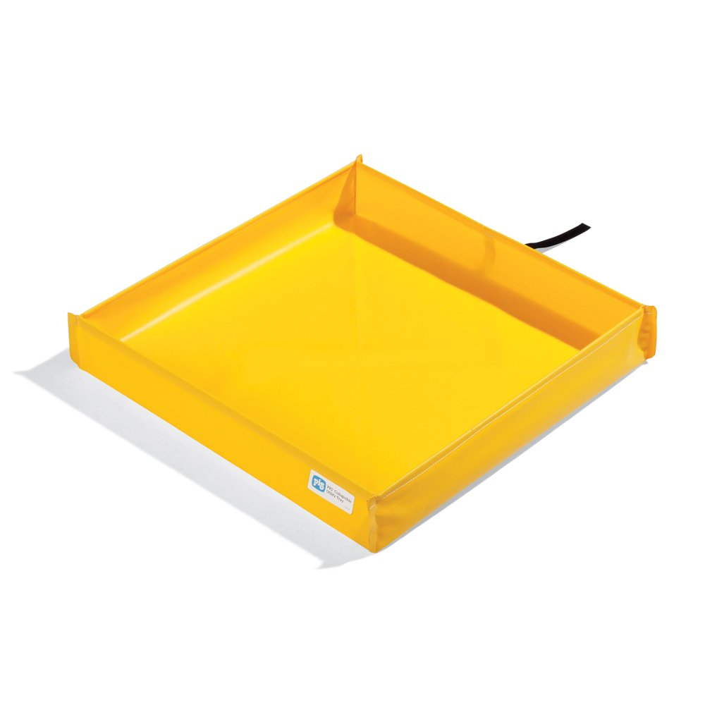 New Pig PAK291 PVC Collapsible Utility Tray, 21.4 Gallon Sump Capacity, 30'' Length x 30'' Width x 5-1/2'' Height, Yellow