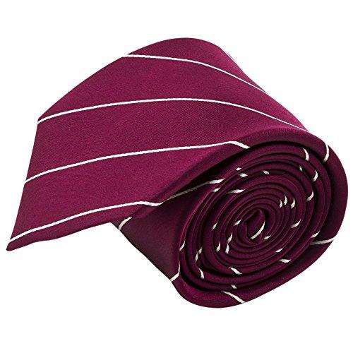 100% Silk Handmade Burgundy Red & White Pencil Striped Tie Men's Necktie (Christmas Silk Necktie)
