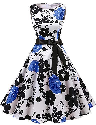 Gardenwed Women's Audrey Hepburn Rockabilly Vintage Dress 1950s Retro Cocktail Swing Party Dress White Blue Flower M]()