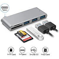 5 in 1 Type-C USB 3.0 Hub for MacBook, Portable Aluminum 5Gbps Combo Adapter, TF/Micro SD&SD Card Reader, 3×USB 3.0 (Space Gray)