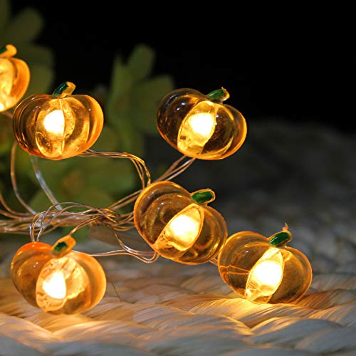 BTgeuse 88 Inch LED Pumpkin Garland Fairy String Lights for Halloween Bedroom Holiday Party Garden Decoration,Battery Powered,30 LEDs, Warm White String Night -