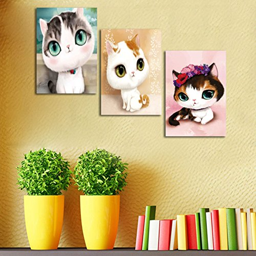 ShuaXin Cartoon Animal Canvas Painting Wall Big Eyes Cat Art for Living Room Children's Room Decorative Print Pictures 12X16inch 3pcs/set Without Frame