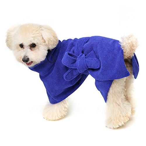 Pawaboo Dog Bathrobe, Quick Drying Dog Towel Dogs and Cats Microfiber Towel Super Obsorbent Pets Bath Towel for Mositure Absorbing, Medium Size, Blue