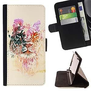 BullDog Case - FOR/LG Nexus 5 D820 D821 / - / lion yellow purple animal tiger Africa /- Monedero de cuero de la PU Llevar cubierta de la caja con el ID Credit Card Slots Flip funda de cuer