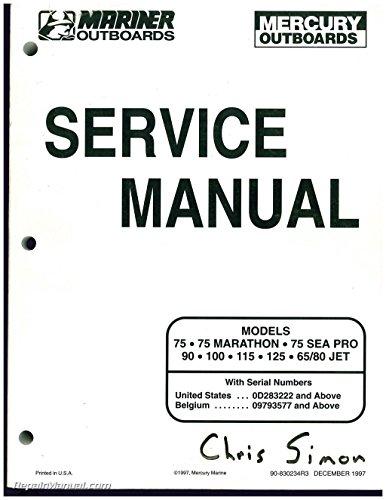 90-830234R3 Used Mariner Mercury Outboard Engine 75 MARATHON, 75 SEA PRO 90, 100, 115, 125, 65/80 JET Service Manual (Engines Used Outboard)