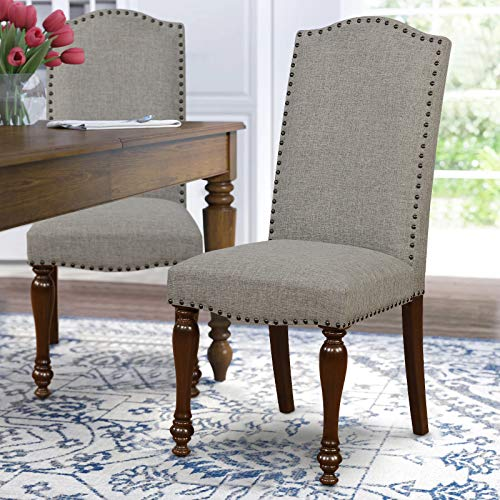 ARGOHOME Fabric Upholstered Dining Chairs Set of 2 – Classic Parsons Chair with Copper Nails and Solid Wood Legs, Gray