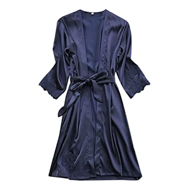 OPAKY Sexy Lingerie Mujeres Silk Lace Robe Falda Babydoll Nightdress Sleepwear Kimono Batas Largas Kimono para Mujer Lenceria Ropa de Dormir Camisón de ...