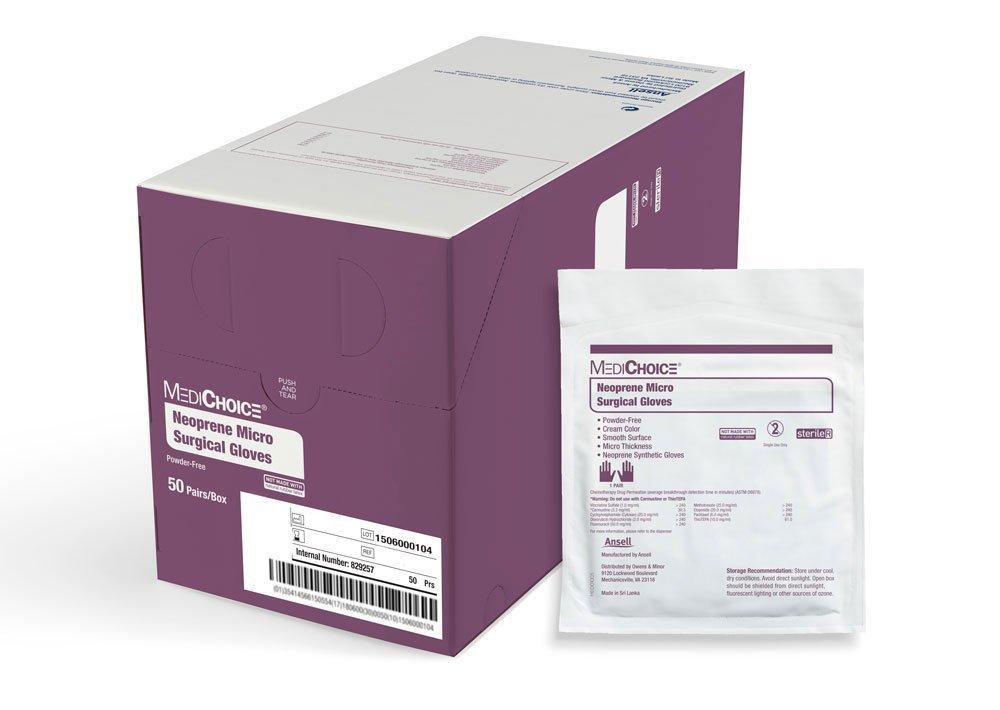 MediChoice Micro Surgical Glove, Powder Free, Sterile, Synthetic Neoprene, 8.0, Cream, 1314SGL85080 (Box of 50)