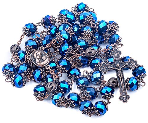 Nazareth Store Deep Blue Crystal Beads Rosary Our Father Catholic Necklace Holy Soil Medal Trinity Cross Antique Crucifix Chaplet in Velvet ()