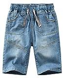 JuJuTa Boy Elastic Wasit Summer Comfortable Denim Short Drawstring Washed Shorts Blue 7/8