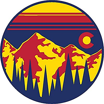 "UNAMEIT Colorado Sunset CO Forest Mountains Sticker. Colorado Stickers (3"" (Pack of 4)): Toys & Games"