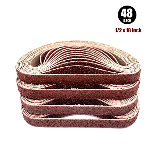 1/2 x18 Sanding Belt,Craftsman Sanding Belts Assortment,8 Each of 60 80 120 150 240 400 Grit (1/2x18 Inch,48 Pack)