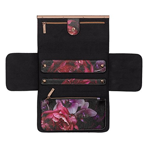 Ted Baker Travel and Storage Jewelry Roll with Detachable Zipper Pouch Splendor Floral Black Faux Leather, Multi (Leather Jewelry Roll)