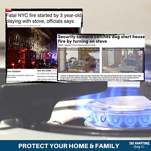 Clear Stove Knob Safety Covers for Gas Stove (5 Pack) Child Safety Guards for Fire Protection, Large Universal Design - Baby Proofing Your Oven Knob Cover & Child Proof Kitchen by The Hamptons Baby by The Hamptons Baby (Image #1)