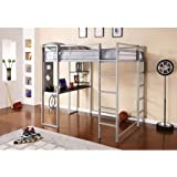 Silver Full Size Metal Loft Bed Over Workstation Desk, Corner Shelves, Multi-functional, Sturdy Metal Frame, Two Ladders, Space Saving Design, Bundle with Expert Guide for Better Life