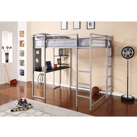 Loft Twin Unit (Silver Full Size Metal Loft Bed Over Workstation Desk, Corner Shelves, Multi-functional, Sturdy Metal Frame, Two Ladders, Space Saving Design, Bundle with Expert Guide for Better Life)