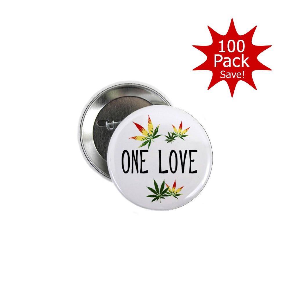 One Love Marijuana Pot Leaf 100-Pack 2.25 inch Pinback Button Badges by Stare At Me (Image #2)