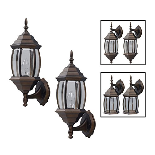 Outdoor Exterior Lantern Light Fixture Wall Sconce Twin Pack, Oil Rubbed Bronze (Bronze Exterior Wall Light Fixture)