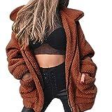 Kemilove Women's Long Sleeve Lapel Faux Fur Zip up Fleece Coat