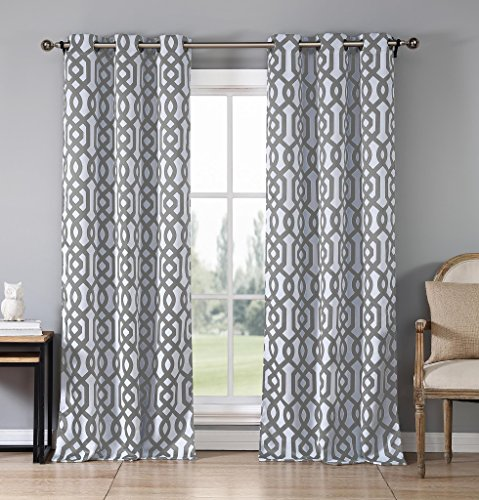 Heavy Blackout Insulated Geometric Grommet Top Window Curtain Pair Panel Drape Covering For Your Livingroom, Bedroom Assorted Colors 38 by 84 Inch, Set of 2 Panels - Grey