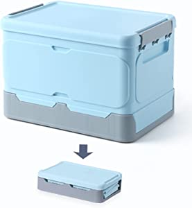 Normi Homes Durable Foldable Plastic Storage Bins with Lids, Easy to Assemble Storage Containers, Stackable Plastic Bins for Home & Office Organization, Toys, Snacks, Books Storage Box (Light Blue)