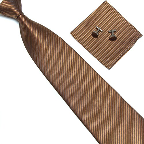 Brown Square Neck (Stylefad Men's Tie Set Solid Color Striped Necktie Pocket Square and Cufflinks (brown))