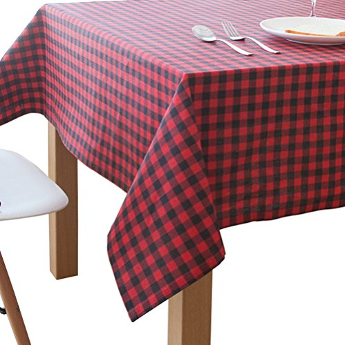 Basic Tablecloth (Aothpher Everyday Basic Washable Geometric Linen Black & Red Checked Tablecloth Buffalo for Dining Table, 54x86)