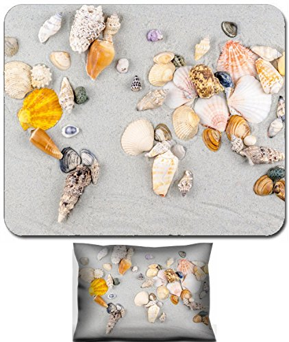 Luxlady Mouse Wrist Rest and Small Mousepad Set, 2pc Wrist Support design IMAGE: 33967749 map of the world made of shells on sand -