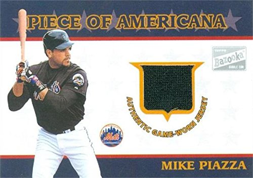 - Autograph Warehouse 343272 Mike Piazza Baseball Card Player Worn Jersey Patch - New York Mets 2003 Topps Bazooka No. PA-MP
