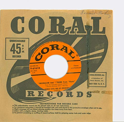 Moonglow and Theme From 'Picnic' | Rio Batucada - George Cates And His Orchestra (Coral Records 1956) Near-Mint (7 out of 10) - Vintage 45 RPM Vinyl Record