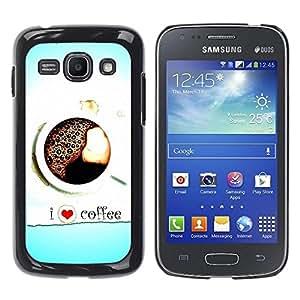 Be Good Phone Accessory // Dura Cáscara cubierta Protectora Caso Carcasa Funda de Protección para Samsung Galaxy Ace 3 GT-S7270 GT-S7275 GT-S7272 // I Love Coffee Heart Blue Black Wh