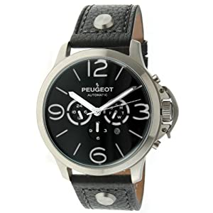 Peugeot Automatic MK912SBK Men's Silver Stainless Steel Multifunction Black Leather Watch
