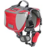 Pawaboo Dog Backpack, Pet Adjustable Saddle Bag Harness Carrier, for Traveling Hiking Camping, Medium Size, Red & Gray