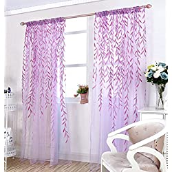 "TINNZTES Curtain Sheer, window screening, Window gauze, fresh wicker Willow Pattern Voile Floral Print Sheer Panel Drapes Scarfs Curtain Fit for door, room, balcony, window, 39.4"" x78.7"" (Purple)"