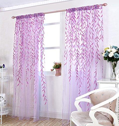 "TINNZTES Curtain Sheer, window screening, Window gauze, fresh wicker Willow Pattern Voile Floral Print Sheer Panel Drapes Scarfs Curtain Fit for door, room, balcony, window, 39.4"" x78.7"" (Purple)"