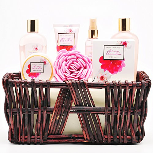 Mothers Day Gift Baskets For Women, Wife, Mom in Japanese Cherry Blossom Essential Oil - 8 Pcs Bath and Body Products in Spa Gift Basket Sets by Green Canyon Spa - Japanese Cherry Blossom Gift