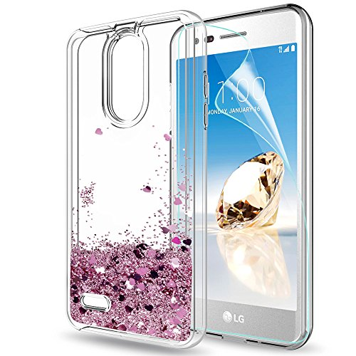 LG Aristo 2 Case,LG Tribute Dynasty Case,LG K8 2018 case with HD Screen Protector for Girls Women,LeYi Glitter Bling Liquid Clear TPU Protective Phone Case for LG Aristo 2 X210 ZX Rose Gold