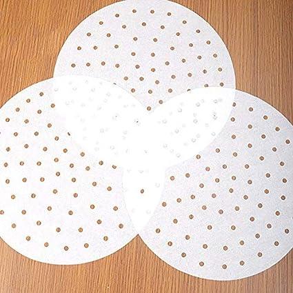 100 unidades Papel perforado para vaporizador de 7//9 pulgadas antiadherente papel perforado para hornear perfecto para freidoras de aire vaporizador de bamb/ú