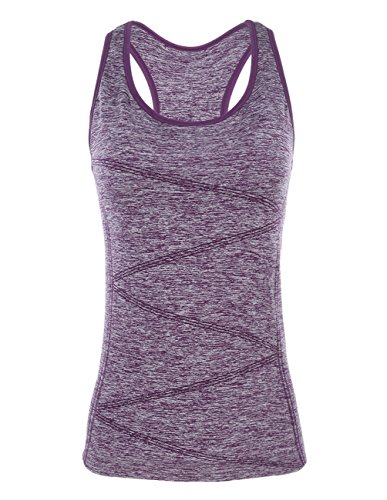 (DISBEST Yoga Tank Top, Women's Performance Stretchy Quick Dry Sports Workout Running Top Vest with Removable Pads (Purple, X-Large))