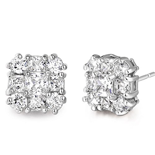GULICX white gold Tone White Cubic Zirconia Rhinestone Vogue Square Stud Earrings